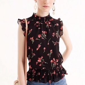 J.Crew Sleeveless smocked top in falling floral